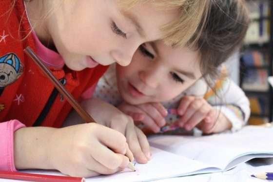 kids writing in winter