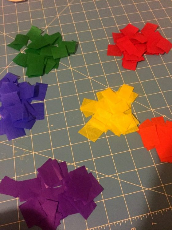 colored tissue paper squares