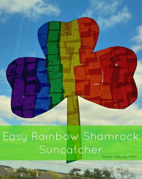 Easy Rainbow Shamrock Suncatcher