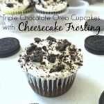 Triple Chocolate Oreo Cupcakes w. Cheesecake Frosting