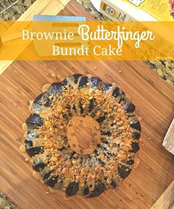 easy Brownie Butterfinger Bundt Cake