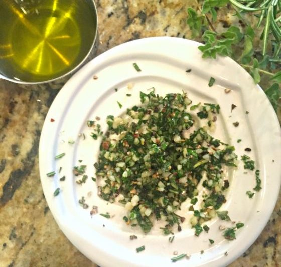 minced herbs for Italian Herb Dipping Oil