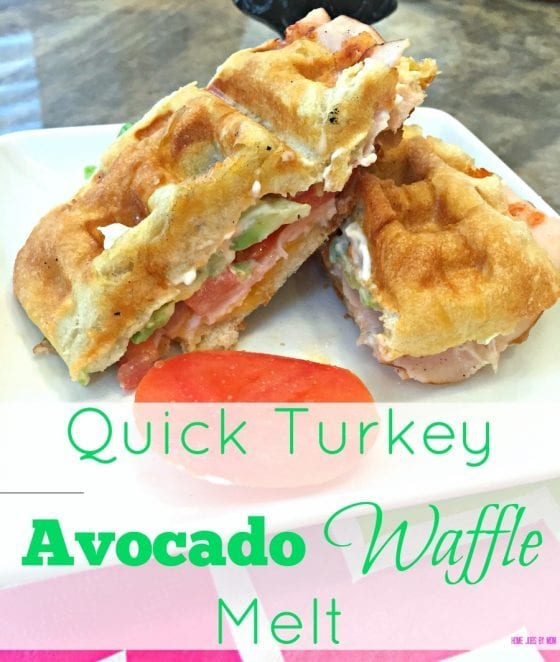 Quick Turkey Avocado Waffle Melt sandwich