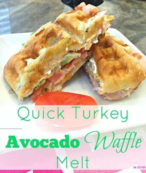 Quick Turkey Avocado Waffle Melt sandwich