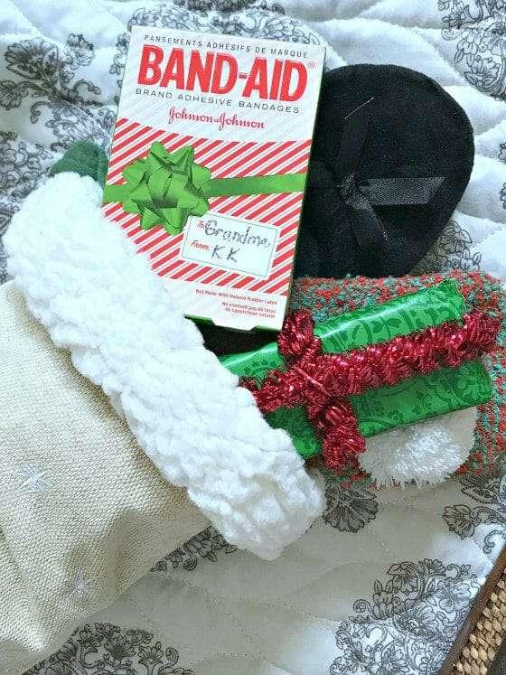stocking and bandaid