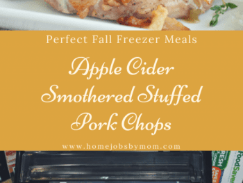 Perfect Fall Freezer Meals, apple cider pork chops, apple stuffed pork chops