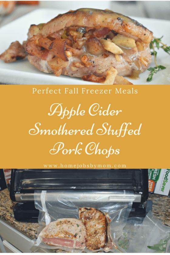 Perfect Fall Freezer Meals, apple cider pork chops, apple stuffed pork chops