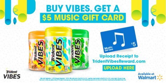 Receive a $5 iTunes Gift Card with Trident VIBES Gum Rebate!