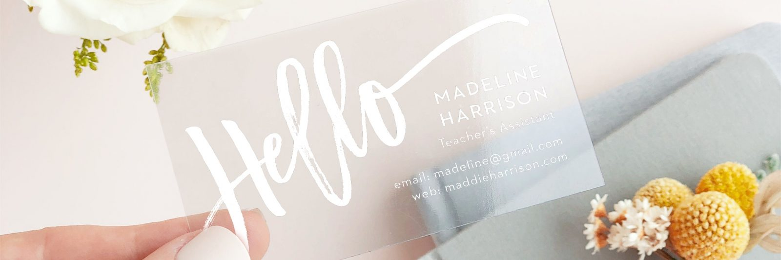 Clear Business Card yellow flower