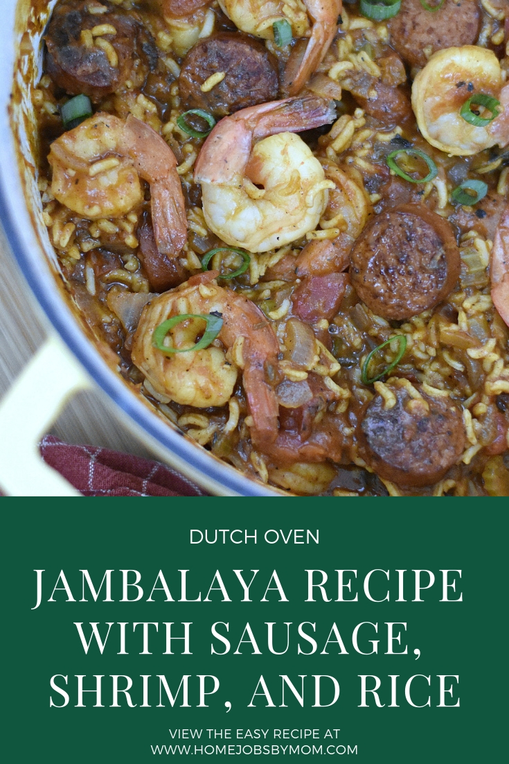 Dutch Oven Jambalaya Recipe with Sausage, Shrimp, and Rice