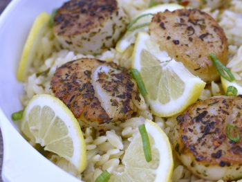 Mediterranean Seared Scallops with Lemony Garlic Orzo