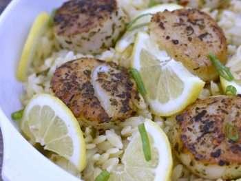 Mediterranean Seared Scallops with Lemony Garlic Orzo