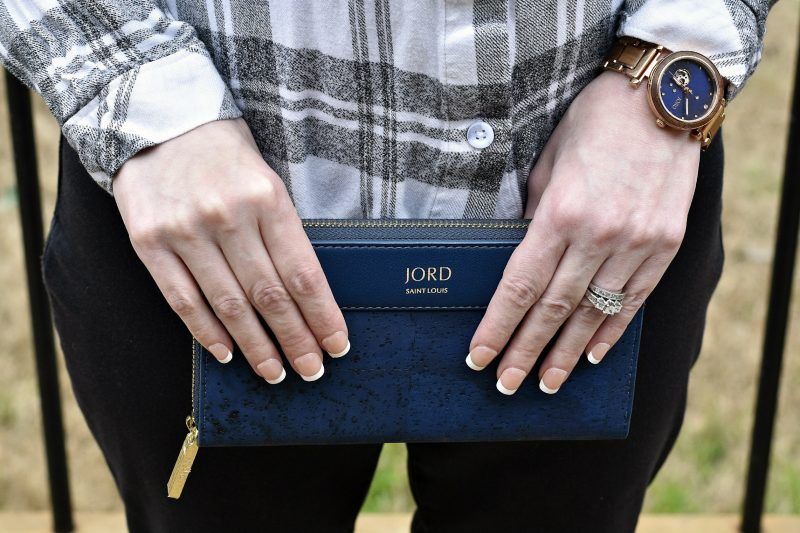 jord vegan leather wallet with watch on wrist